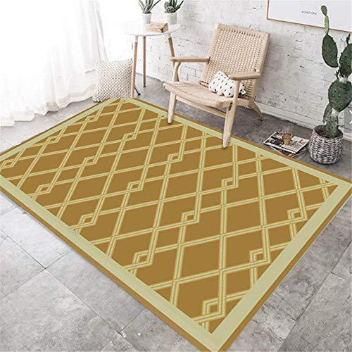La Alfombra Alfombra niños Alfombra Minimalista Resistente a la Suciedad de la Sala de Estar del diseño de la línea geométrica Amarilla marrón alfombras Modernas Alfombra Algodon Lavable 100*200cm