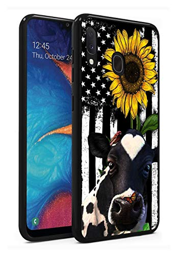 Galaxy A20 Case, Galaxy A30 Case, Liquid Soft Silicone Shock Absorber Bumper Cover for Samsung Galaxy A20 / A30, American Flag Sunflower and Cow