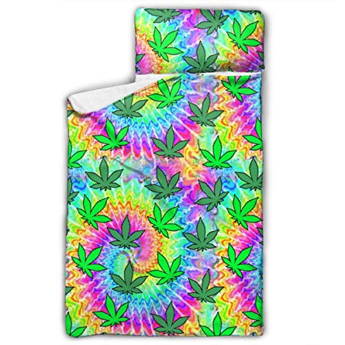 Bbhappiness Kids Child Nap Mat for Daycare and Preschool 50X20 in Rainbow Weed Plants Leaves Spirals