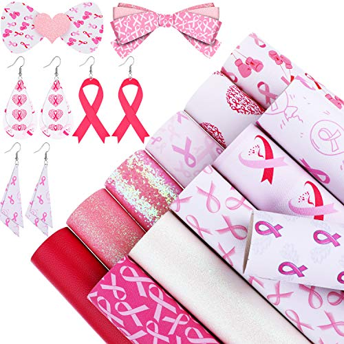 12 Pieces Breast Cancer Faux Leather Sheets Pink Ribbon Pattern Printed Leather Sheets Glitter Synthetic Leather Fabric Sheets for DIY Crafts Earrings Hair Bows, 6.3 x 8.3 Inches