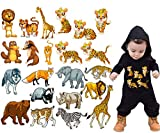 Baby Iron on Transfers Patches Kids 4 Sets Cute Cartoon Animal Giraffe, Tiger, Leopard, Elephant, Wolf, Heat Transfer Patches DIY Decorative Applique Stickers for Boy T-Shirts Bags Garments Accessori
