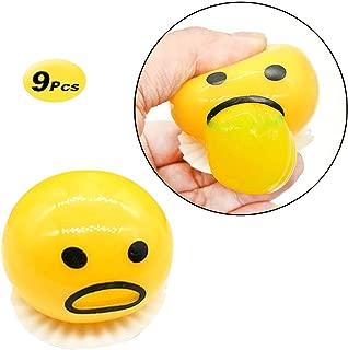 X Hot Popcorn 9 Pcs Cute Yellow Round Sucking & Vomiting Lazy Egg Yolk Emoji Stress Relief Toys