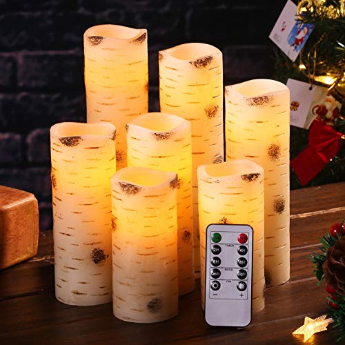 "Flameless Candles Flickering LED Candles Birch Bark Effect Set of 7(D:2.2' X H:5'5'6'6""7'8'9"") Ivory Real Wax Pillar Battery Operated Candles with 10-Key Remote Control and Cycling 24 Hours Timer"