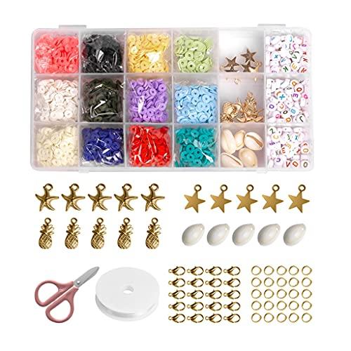 WANMEI - Accesorios para hacer joyas de estilo bohemio, arcilla polimérica, 4/6/8 mm, cuentas con diferentes colores, disfruta de hacer bricolaje