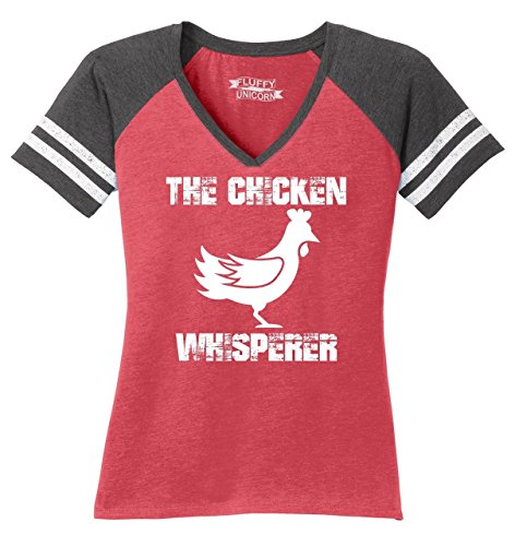 Ladies Game V-Neck Tee The Chicken Whisperer Heathered Red/Heathered Charcoal M