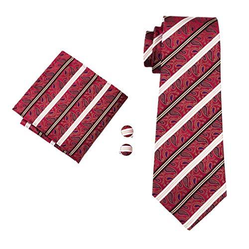 GPZFLGYN Conjunto de gemelos de pañuelo de corbata tejida jacquard de seda para hombre para bodas de negocios