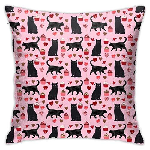 Gato negro para San Valentín, gato, señora de San Valentín, gato y gato, cupcakes, chocolate, rosa, 45,7 x 18 pulgadas