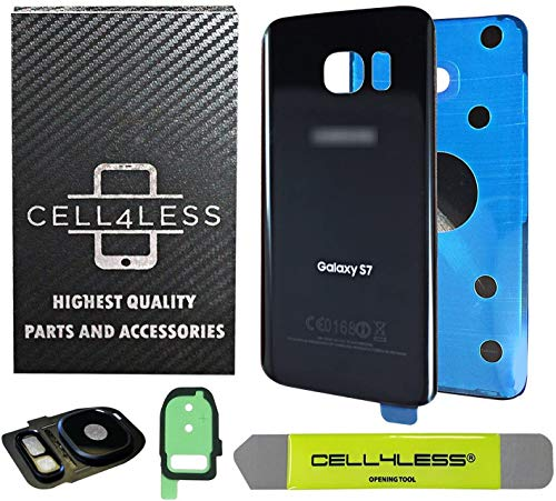 CELL4LESS Compatible Back Glass Cover Back Battery Door w/Custom Removal Tool & Installed Adhesive Replacement for Samsung Galaxy S7 - All Models G930-2 Logo - OEM Replacement (Black Onyx)
