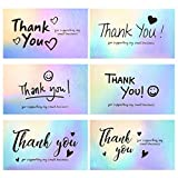 120Pcs Thank You Cards Small Business, FZR Legend Mini 6 Styles Thank You for Supporting Cards Notes Shopping Holographic Thanks Greeting Cards for Retail Store Owner Goods Customer 2x3.5 Inch