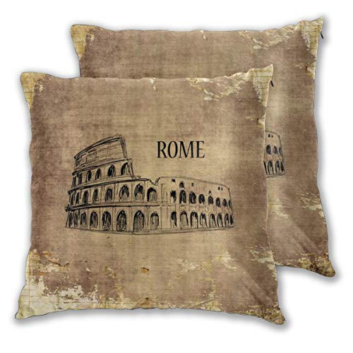 DECISAIYA 2 Pcs Square Pillow Covers,Retro Rome Colosseum Round Glade Column Decoration Ancient Roman Civilization Symbol,Decorative Cushion Covers For Sofa Couch,Bed,Chair,Hotel,Cafe,Office,55x55cm