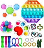 Fidget Toy Packs Cheap Fidget Box with Simples Pop Bubble Stress Relive Balls for Kids Adults ADHD ADD Anxiety Autism (A Set)