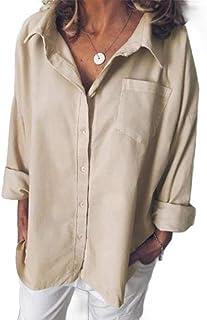Loyomobak Women's Loose Fit Casual Cotton Linen Solid Button Up Shirt