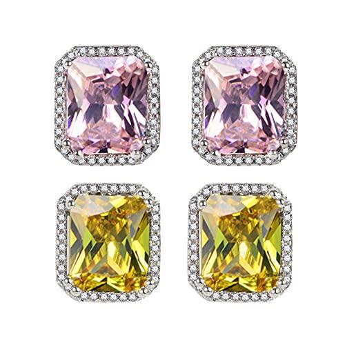 CLKE 2 pares de pendientes de cristal austriaco chapados en color morado/amarillo con circonita cúbica cuadrada para mujeres y señoras elegantes joyas