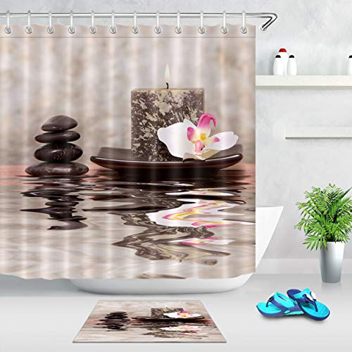 GoEoo SPA Candle Stone Orchid Waterproof Fabric Pattern Room Home no Smell Easy to Clean Non-Slip Carpet Suitable for Bathroom Hotel Shower Curtain Set