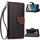 CaseHome Compatible with Cover Google Nexus 5X Lederoptik PU Leder Hülle Nature Blatt Etui PU-Leder Brieftasche Flip Hüllen Magnetverschluss Standfunktion Folio Tasche Schutzhülle(Schwarz Color)
