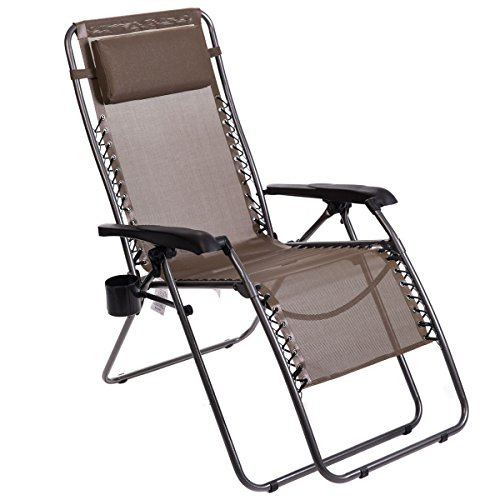 Timber Ridge Zero Gravity Chair Locking Lounge Recliner for Outdoor Beach Patio Camping Support 300lbs, Brown