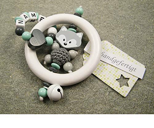 Baby Greifling Rassel Beißring mit Namen - individuelles Holz Lernspielzeug als Geschenk zur Geburt Taufe - Mädchen Jungen Motiv Fuchs und Herz in mint