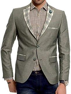 Wessi Dark Green Cotton Slim Fit Mens Blazer with Check Lapel