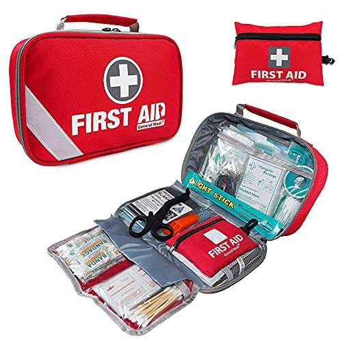 First Aid Kit (215 Piece) + Bonus 43 Piece Mini First Aid Kit – Includes Emergency Blanket, Bandage, Scissors