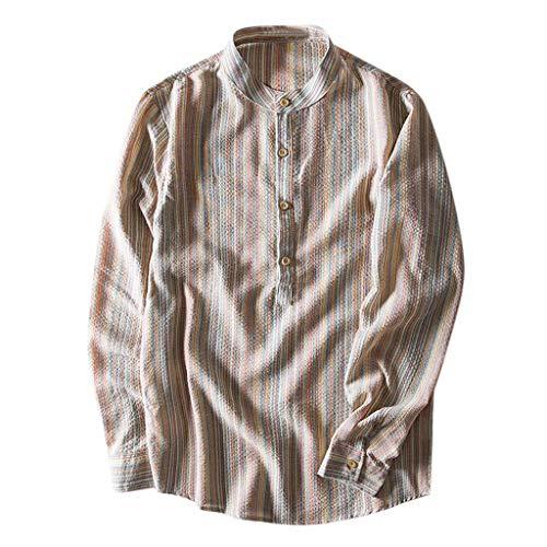 Routinfly Herren Langarmshirt Ethnischen Stil Baumwolle Leinen Mischung Streifen Langarm Shirt Bluse Tops Freizeithemd M-5XL