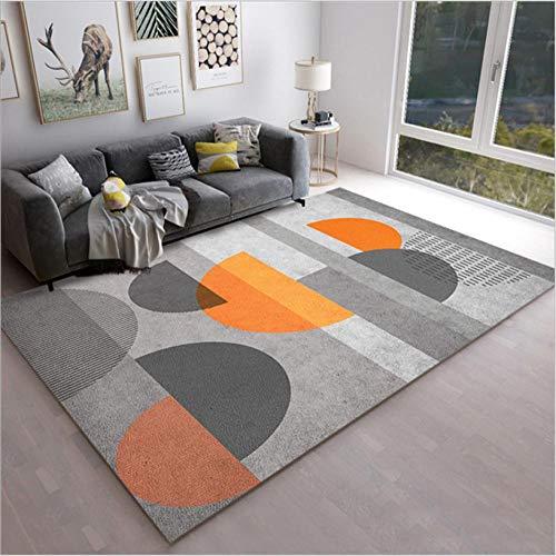 Tapis de Salon Chambre Design Moderne adapté à la décoration de la Maison Demi-Cercle géométrique Gris Orange 160X230CM(5.5ft x 7.5ft)