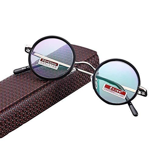 YDS Shop Leesbril, zwart, rond, volformaat, slijtvast, ultralicht kunsthars, anti-vermoeidheidsbril, metalen frame, veerscharnieren voor Presbyopie bij mannen en vrouwen +4.0