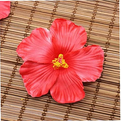 Ruluti 10 Unids Flores Hawaiano Clip De Pelo Hibisco Flores De Hibisco Fiesta De Verano DIY Decoraciones Artificiales Hula Girls Promover Decoración del Cabello Color Aleatorio