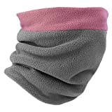 Fycert Neck Warmer - Winter Neck Gaiter & Balaclava for Men Women - Cold Weather Face Cover, Mask Scarf & Shield for Ski Snowboard (Pink/Gray)