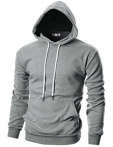 Ohoo Mens Slim Fit Long Sleeve Lightweight Pullover Hoodie With Kanga Pocket DCF010-DEEPGREY-L