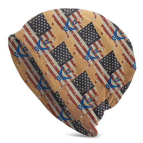 shenguang Civil Air Patrol U -USA-Flag Map Unisex Knit Hat Gorros elásticos Suaves Skull Cap Hedging Cap, Beanie Hat