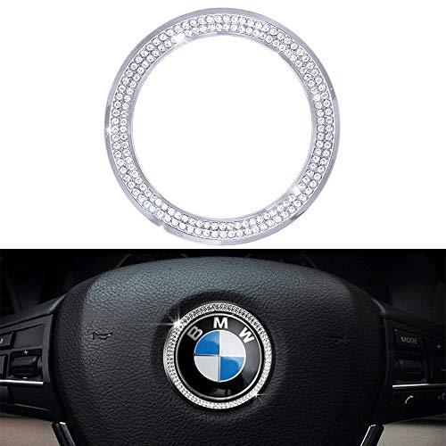 VDARK BMW Zubehör Teile Lenkrad Logo Caps Abdeckungen Abziehbilder für alle BMW Bling Innen Aufkleber Visiere Dekorationen BMW 3er Reihe 5 Serie 6 7 X3 X5 X6 Damen Herren Kristall Silber (Silber)