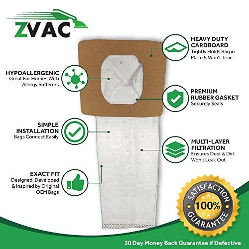 ZVac Replacement Hoover Q and I Vacuum Bags Compatible with Hoover Part # Ah10005, Ah10000 Fits All Vacuum Models Using Type Q and I Bags - 5 Each Pack in A Bag