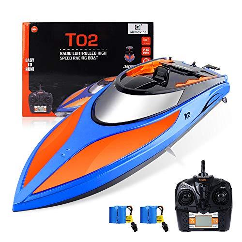 GizmoVine Ferngesteuertes Boot,Schnelle Geschwindigkeit RC Boot,25KM / H 2.4 GHZ Rennboote mit 2 wiederaufladbaren Batterien LCD Alarm bei schwacher Batterie für Jungen Mädchen Erwachsene