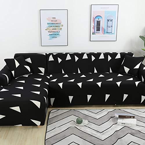 Fundas de sofá de Esquina para Sala de Estar Funda elástica elástica Sofá seccional Chaise Longue Funda de sofá en Forma de L A19 1 Plaza