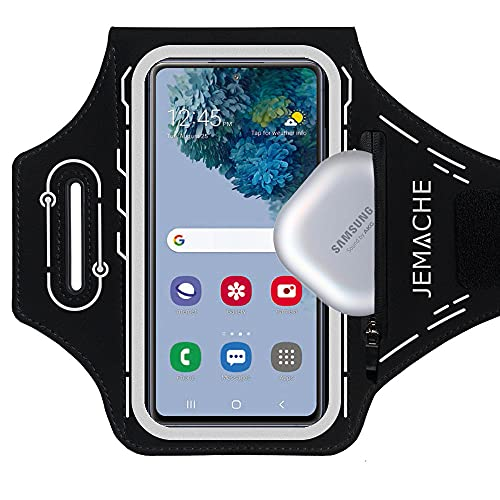 JEMACHE Running Armband for Samsung Galaxy S21 Ultra, S20 Plus, S21 Plus 5G, S20 FE, Note 20 Ultra 10+ 9 8, Gym Workouts Arm Band with Earbuds Pocket, Card Holder (Black)
