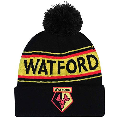 Official Watford FC Football Crest Bobble Ski Hat (100% Acrylic)