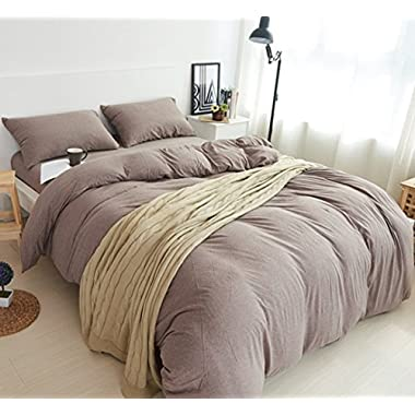 MisDress Jersey Knit Cotton 3 Pieces Duvet Cover King Solid Dark Coffee Bedding Set King Comforter Cover with Pillow Shams Ultra Soft Breathable