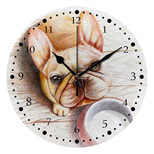 Reloj de Pared silencioso Sin tictac Operado a batería Hungry Bulldog Bulldog Vacío Cuenco Descubierto Decoración Inicio Oficina Dormitorio Sala de Estar Reloj de Silencio