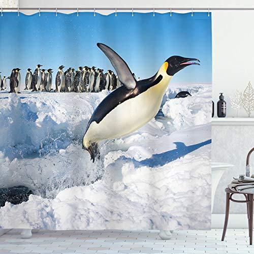ABAKUHAUS Duschvorhang, Penguins in der Arktis Schnee Glücklich Umher Springen EIS Wildlebend Natur Foto Digital Druck, Wasser & Blickdicht aus Stoff mit 12 Ringen Schimmel Resistent, 175 X 200 cm