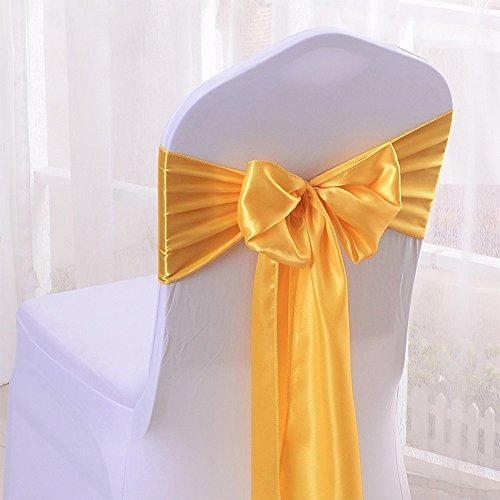 Malayas 25PCS Lazos de Satén para Sillas Faja Elástica de Silla Cubiertas de Sillas de Arco para Decoración Boda Banquete Fiesta Aniversario Color Dorado