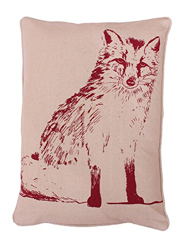 Thro by Marlo Lorenz Fox Beaded Woodland Pillow, 14 by 20-Inch, Sundried Tomato Natural