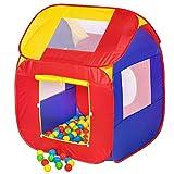 TecTake pop Up Kinderspielzelt | Spielhaus mit Bällebad | inkl. 200 Bälle + Tasche | -Diverse...
