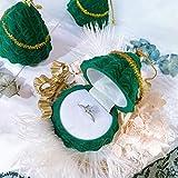 Collares,Regalo Mujer,Deco hogar,Caja joyero,vitrinas,Accesorios tocador,Caja de Anillo de árbol de Navidad de Franela Verde de 2 Piezas, propuesta Sorpresa, Caja de Embalaje de joyería romántica