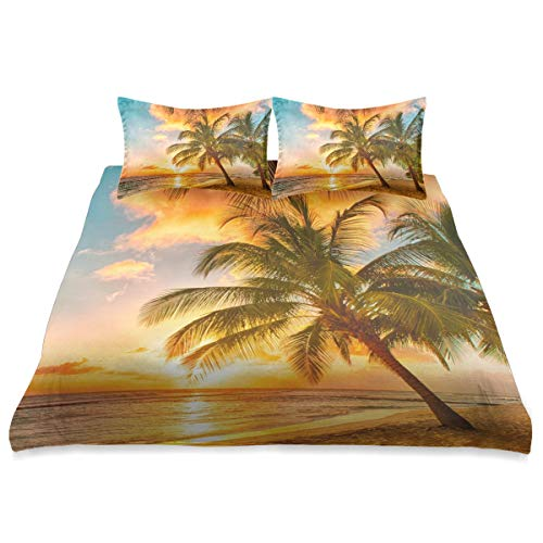 Ocean Sunset Palm Tree Comforter Set King Size Cover Comforter Set Cover All Season Soft and Comfortable Bedding Set Cover Cover,90x104in