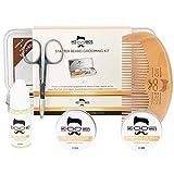 Kit Barbe pour Homme de Mo Bro's | Huile à Barbe | Baume à Barbe | Ciseaux de Barbe | Peigne à Barbe | Cire à Moustache | Coffret Cadeau Homme (Vanilla et Mangue)