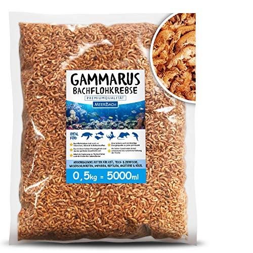 MeerBach Animal Gammarus Bachflohkrebse getrocknet • 5000ml Premium Futter • gesunder und natürlicher Snack für Fische, Wasserschildkröten, Vögel, Reptilien und Nager
