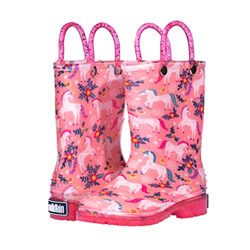 Wildkin Kids Rain Boots for Toddlers Boys & Girls, 100% Water Proof Rain Boots for Kids with Easy Slip-On Handles, Features No-Slip Tread, Ideal for All Seasons, BPA-Free, Size 11 (Magical Unicorns)