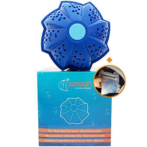 pumpqin® Öko Waschball mit Wäscheschutz - Bio Recycelbare Waschkugel ohne Waschmittel - Nachhaltig Waschen mit 6 facher Reinigung - Umweltfreundlich, für Allergiker geeignet