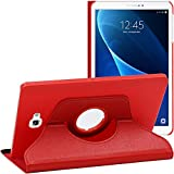 ebestStar - Coque Compatible avec Samsung Galaxy Tab A6 A 10.1 (2018, 2016) T580 T585 Housse Protection Etui PU Cuir Support Rotatif 360, Rouge [Appareil: 254.2 x 155.3 x 8.2mm, 10.1'']