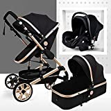 LIU Pram 3 in 1 Set, Baby Pushchair, Buggy, Foldable, with Infant Car Seat, Carrycot, Baby Carriage pramAccessories, Rain Cover, Footmuff, for Newborn, from Birth to 3 Years, Black